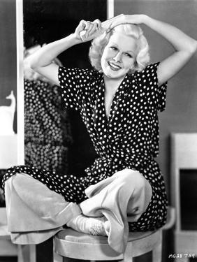 Jean Harlow Seated in Black Polka Dot Dress by Movie Star News