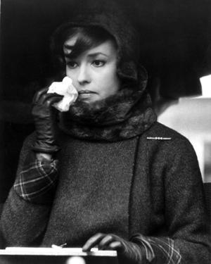 Jeanne Moreau Portrait in Black Linen Long Sleeve Folded Top Twee Coat and Black Scarf by Movie Star News