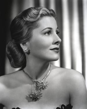 Joan Fontaine wearing Matching Necklace and Earrings in a Portrait by Movie Star News