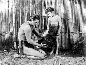 Johnny Weissmuller Kneeling in Black and White by Movie Star News