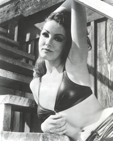 Julie Newmar Leaning on Stairs in Lingerie Black and White by Movie Star News
