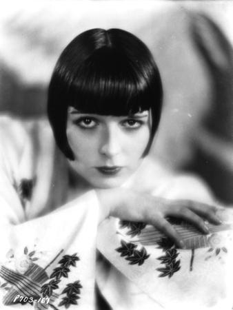 Louise Brooks Posed in White Printed Dress Portrait