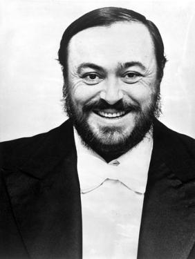 Luciano Pavarotti Posed in Black with white Background by Movie Star News