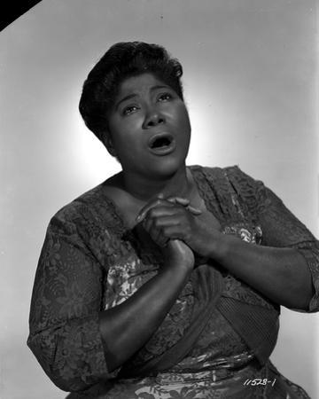 Mahalia Jackson singing in Floral Blouse with White Background by Movie Star News