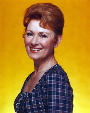 Marion Ross smiling in Blue Checkered Dress Portrait by Movie Star News