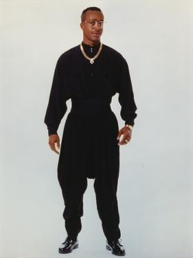 MC Hammer Posed in Black Outfit with Necklace by Movie Star News