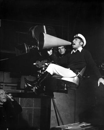 Mel Brooks Announcing in Navy Attire With Horn by Movie Star News