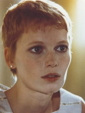 Mia Farrow Close Up Portrait wearing White Printed Tank Top by Movie Star News