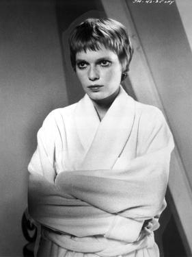 Mia Farrow Portrait wearing White Robe by Movie Star News