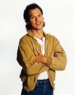 Michael Keaton posed in Brown Coat by Movie Star News