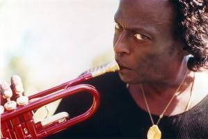 Miles Davis with Trumpet Close Up Portrait by Movie Star News