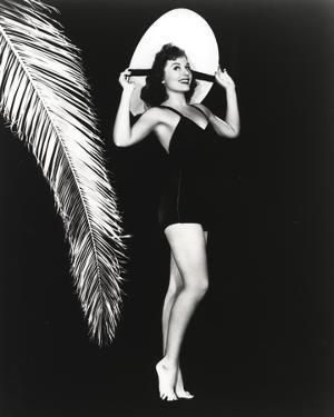 Paulette Goddard Posed wearing Black Bikini with Hat Portrait with Black Background by Movie Star News