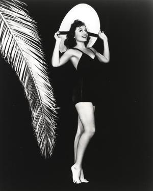 Paulette Goddard Posed wearing Black Bikini with Hat Portrait with Black Background by Movie Star News