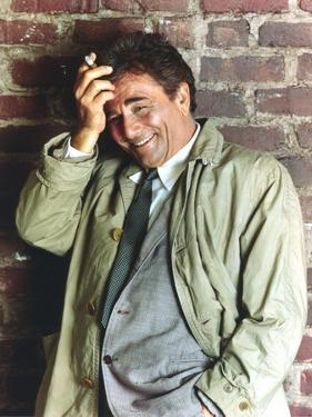 Peter Falk smiling in Formal Outfit with Gray Coat Portrait by Movie Star News