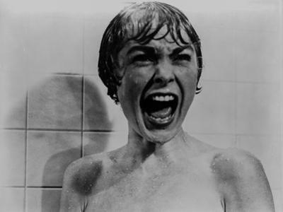 Psycho Scene of Woman Screaming while Taking a Bath Excerpt from Film in Black and White