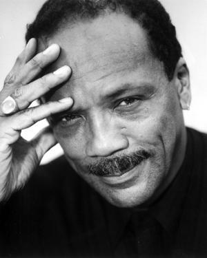 Quincy Jones in Black With White Background by Movie Star News