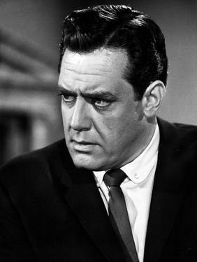 Raymond Burr Looking Away wearing Tuxedo Portrait in Black and White by Movie Star News