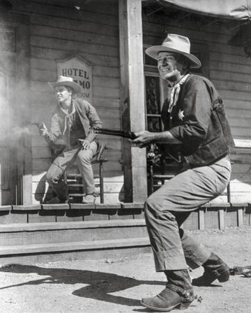 Rio Bravo Gun Fight Scene in Black and White