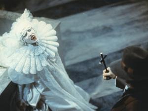 Sadie Frost in White Demon Costume Movie Scene by Movie Star News