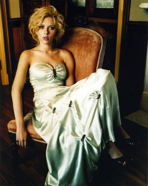 Scarlett Johansson in White Gown on Couch by Movie Star News
