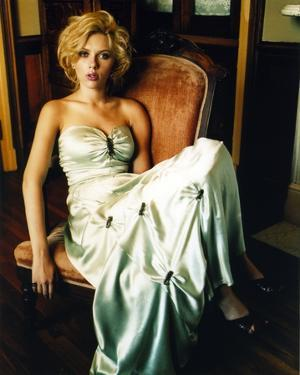 Scarlett Johansson in White Gown on Couch by Movie Star News