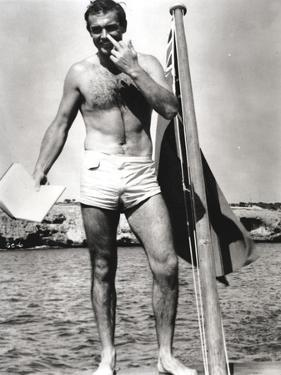 Sean Connery on Raft in Black and White by Movie Star News