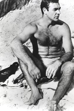Sean Connery sitting in White Underwear with Hairy Chest by Movie Star News