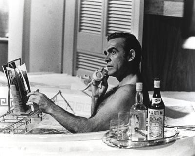 Sean Connery Taking a Bath with Champagne by Movie Star News