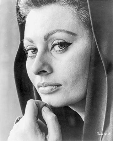 Sophia Loren wearing a Hood in a Close Up Portrait by Movie Star News