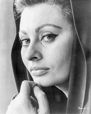 Sophia Loren wearing a Hood in a Close Up Portrait by Movie Star News