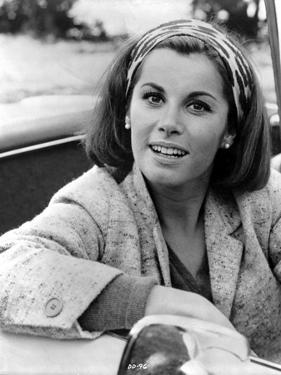 Stefanie Powers smiling in Black and White Portrait wearing Coat by Movie Star News