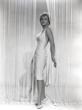 Stella Stevens Posed wearing White Dress in Black and White Portrait by Movie Star News