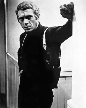Steve McQueen Leaning Posed wearing Black Sweater in Black and White Portrait by Movie Star News