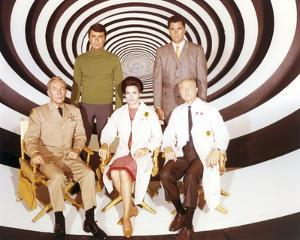 Time Tunnel Group Portrait in Black and White Swirl Background by Movie Star News