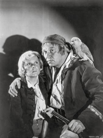 Treasure Island Movie Scene in Black and White with a Parrot