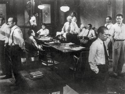 Twelve Angry Men in a Conference Room Scene in Black and White