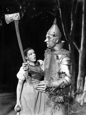 Wizard Of Oz Girl Dorothy Meeting the Tin Man Black and White by Movie Star News