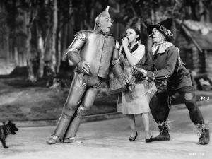 Wizard Of Oz Tin Man Leaning on Dorothy in Black and White by Movie Star News