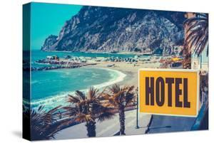 Retro Euro Beach Hotel Sign by Mr Doomits