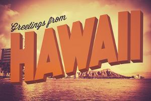 Retro Greetings from Hawaii Postcard by Mr Doomits