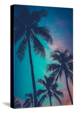 Retro Sunset Hawaii Palm Trees by Mr Doomits