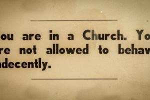 Vintage Church Rules Sign by Mr Doomits