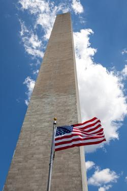 Obelisk with American Flag in National Mall, Washington Monument by mrcmos