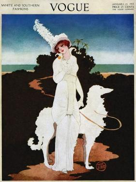 Vogue Cover - January 1913 by Mrs. Newell Tilton