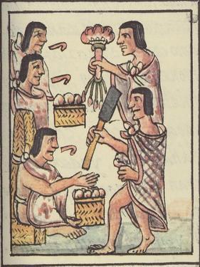 Ms Palat. 218-220 an Aztec Feast, from the 'Florentine Codex' by Bernardino De Sahagun, C.1540-85