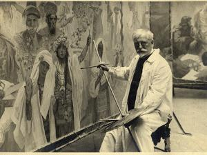Mucha Working on 'The Coronation of the Serbian Tsar, Stepan Dusan, as East Roman Emperor', 1924