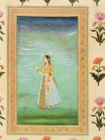 Lady Holding a Flower, from the Small Clive Album (Opaque W/C on Paper)