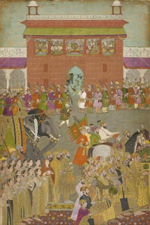 A Procession Scene with Musicians, from a copy of the Padshanama, Mughal period, mid 17th century by Mughal School