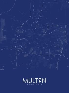 Multan, Pakistan Blue Map
