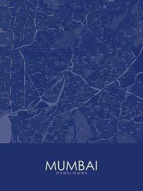 Mumbai, India Blue Map